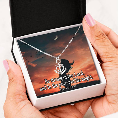 "Be Strong in the Lord Religious Gift Ephesians 6:10 Anchor Necklace Stainless Steel 16-22"" Cable Chain"
