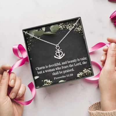 "Religious Gift Charm is Deceitful and Beauty is Vain Proverbs 31:30 Anchor Necklace Stainless Steel 16-22"" Cable Chain"