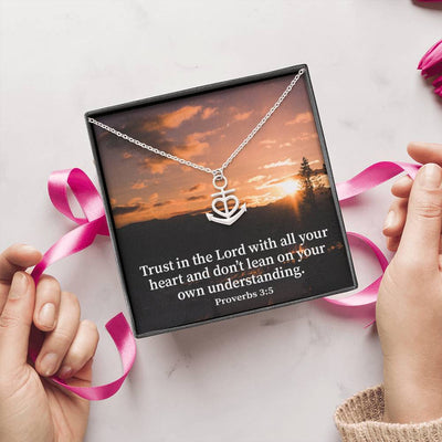 "Trust in the Lord Religious Gift Proverbs 3:5 Anchor Necklace Stainless Steel 16-22"" Cable Chain"