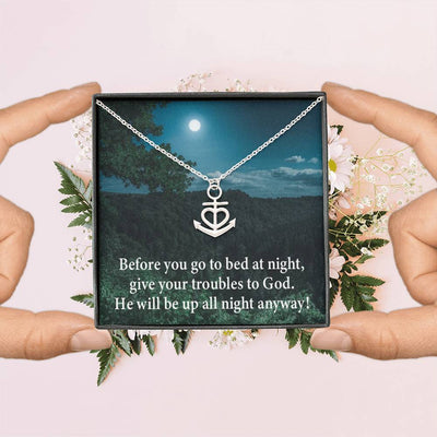 "God Has Your Problems Religious Gift Anchor Necklace Stainless Steel 16-22"" Cable Chain"