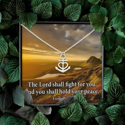 "The Lord Shall Fight For You Religious Gift Exodus 14:14 Anchor Necklace Stainless Steel 16-22"" Cable Chain"