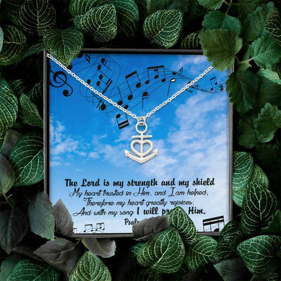 "The Lord is my Strength Religious Gift Psalm 28:7 Anchor Necklace Stainless Steel 16-22"" Cable Chain"