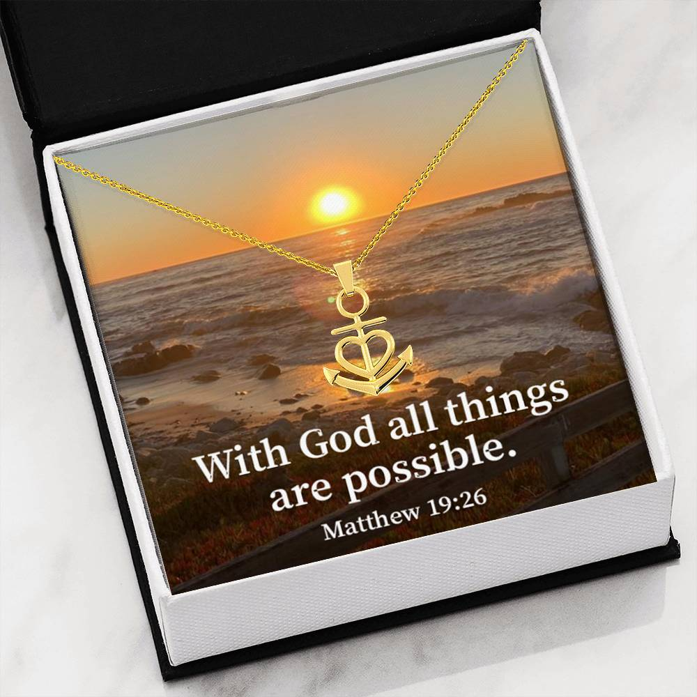 "Religious Gift With God All Things are Possible Anchor Necklace Stainless Steel 16-22"" Cable Chain"