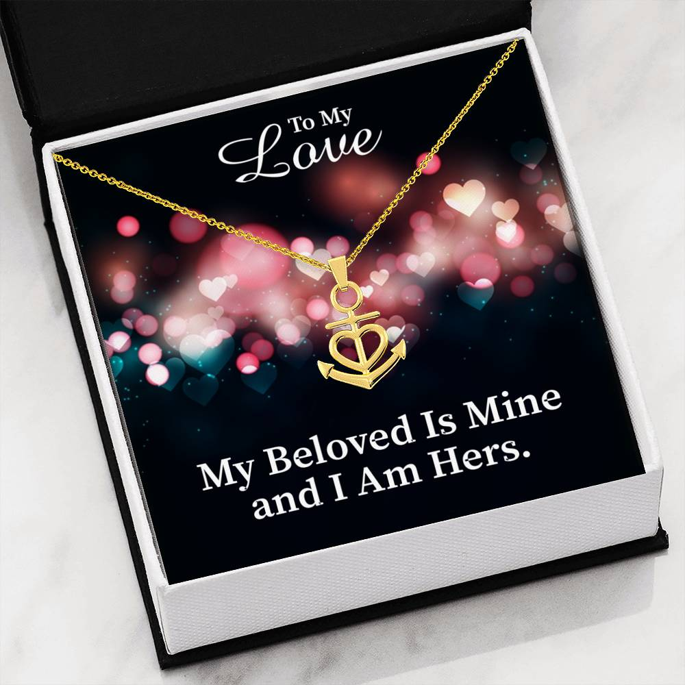 "To My Love Religious Gift Song of Solomon 2:16 Anchor Necklace Stainless Steel 16-22"" Cable Chain"