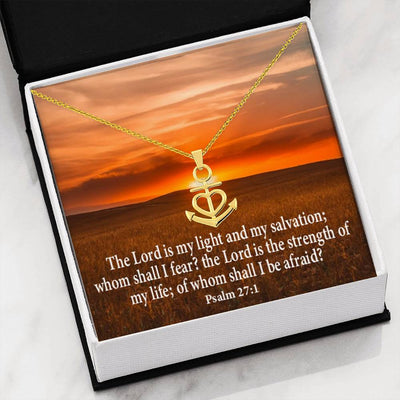 "Lord is My Salvation Religious Gift Psalm 27:1 Anchor Necklace Stainless Steel 16-22"" Cable Chain"
