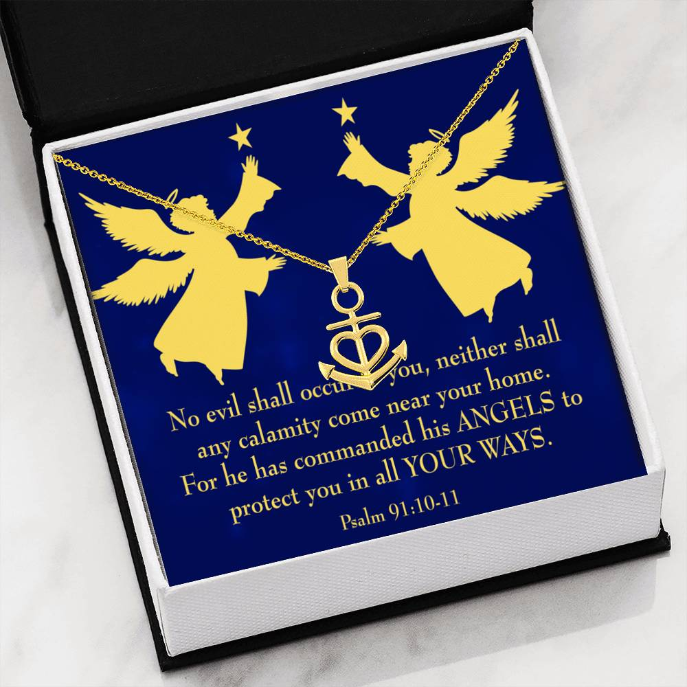 Psalm 91 Gift Gold KeepSake Scripture Card Anchor Pendant Stainless Steel Guardian Angels Quote