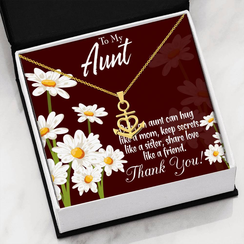 Aunt Like Mom Aunt Gift Aunt Jewelry Anchor Necklace Stainless Steel Best Aunt Ever Pendant