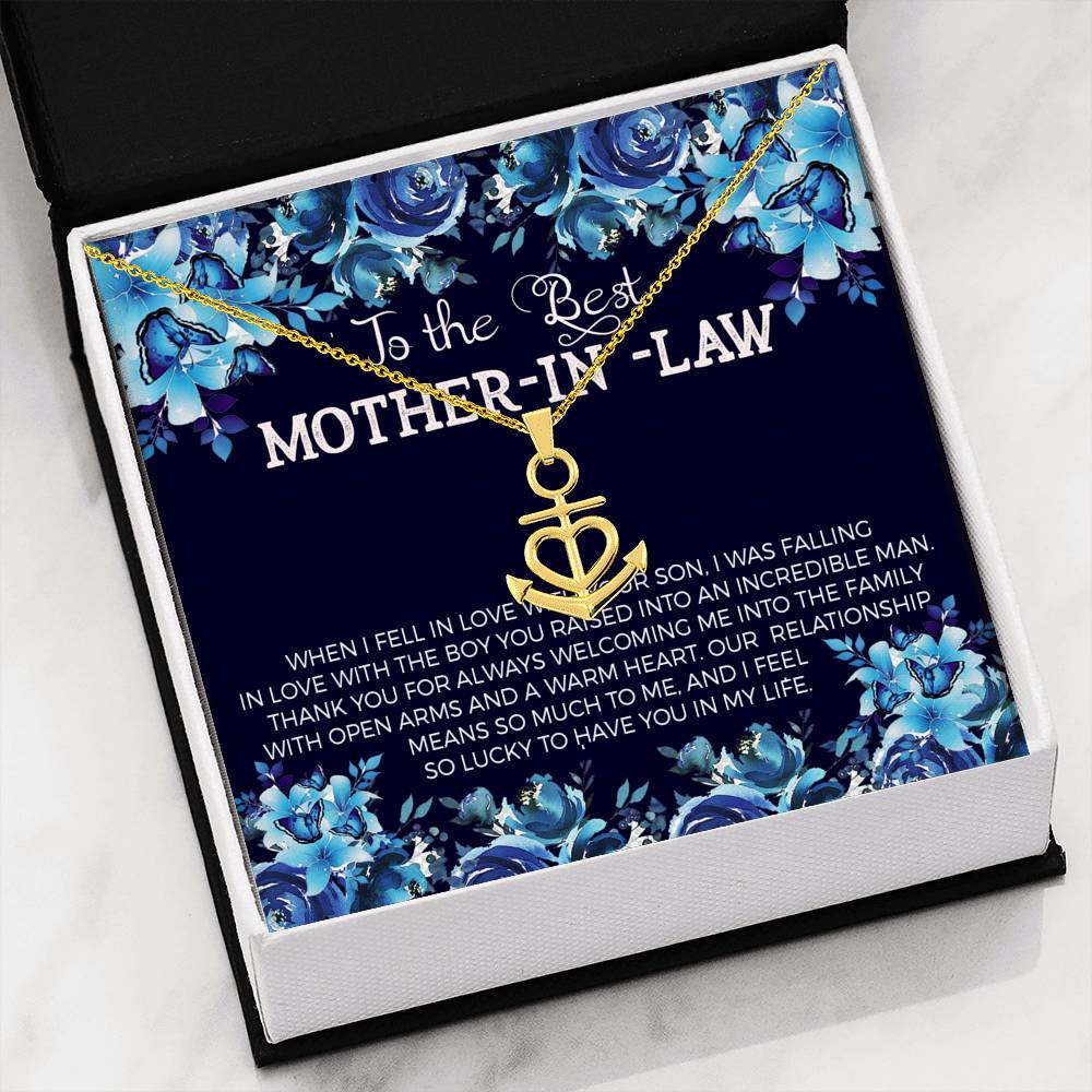 Mother in Love, Anchor Pendant Stainless Steel, Jewelry Gift, Keepsake Card