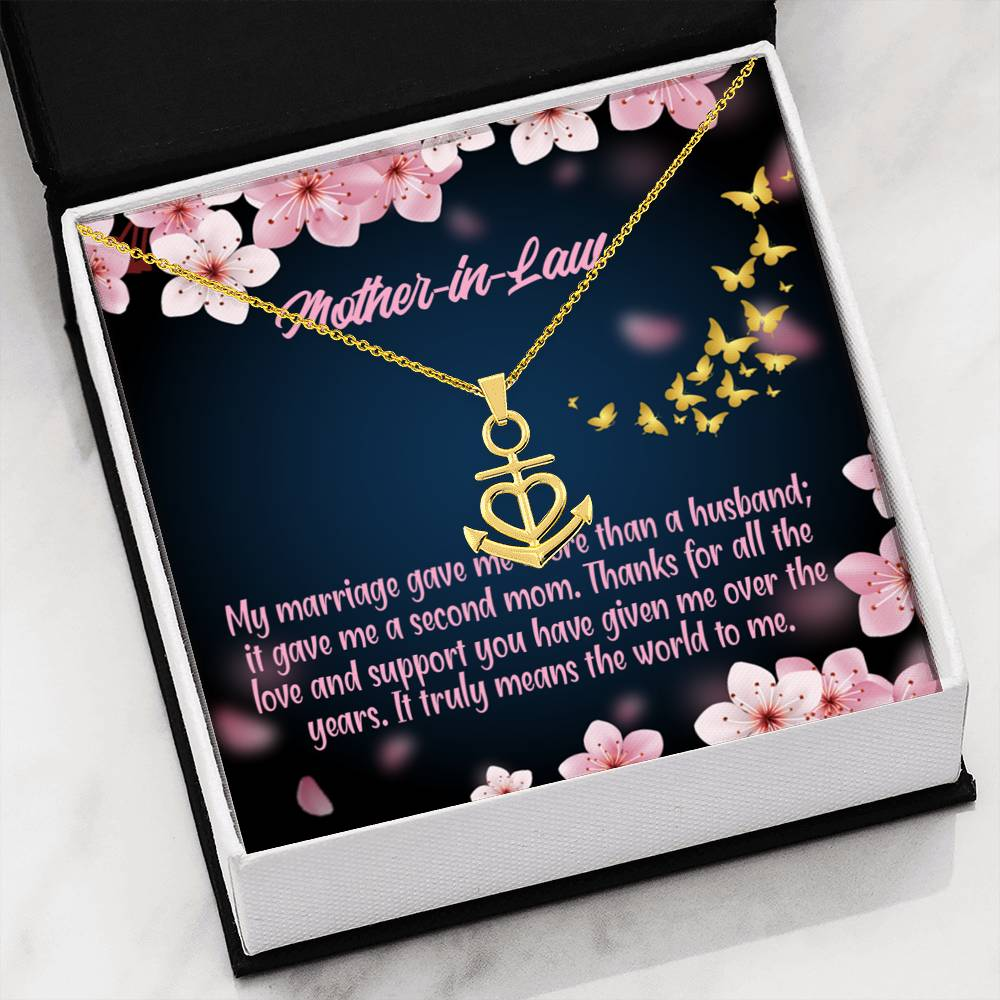 Mother-In-Law Necklace Anchor Pendant Stainless Steel Mother-in-Law Birthday Jewelry Mothers Day Gift Marriage Second Mom