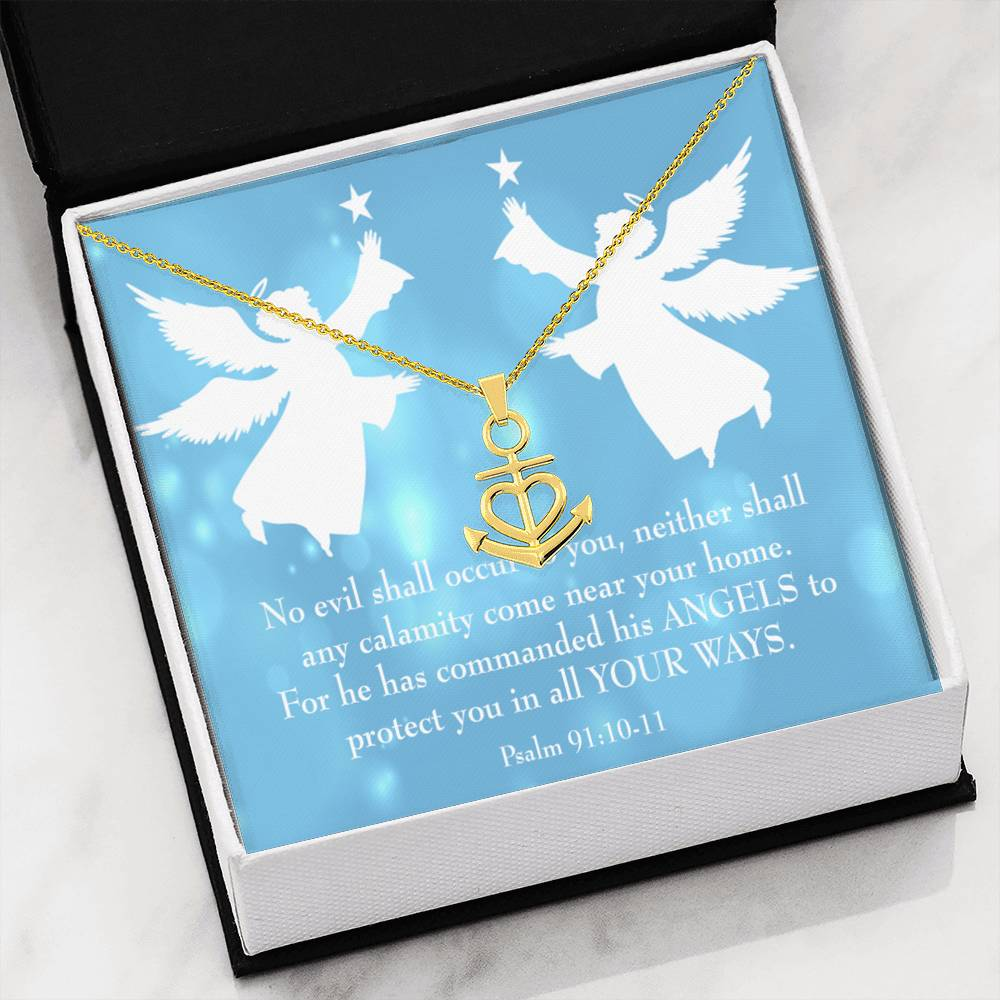 Bible Verse Necklace Psalm 91 Blue Card Anchor Pendant Stainless Steel Angels Protect You Quote