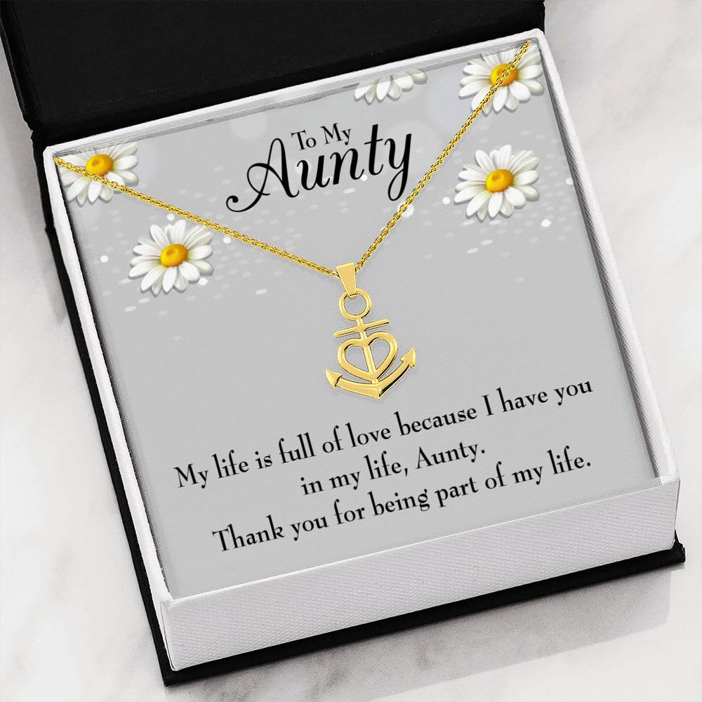 Thank You Auntie Aunt Gift Aunt Jewelry Anchor Necklace Stainless Steel Best Aunt Ever Pendant