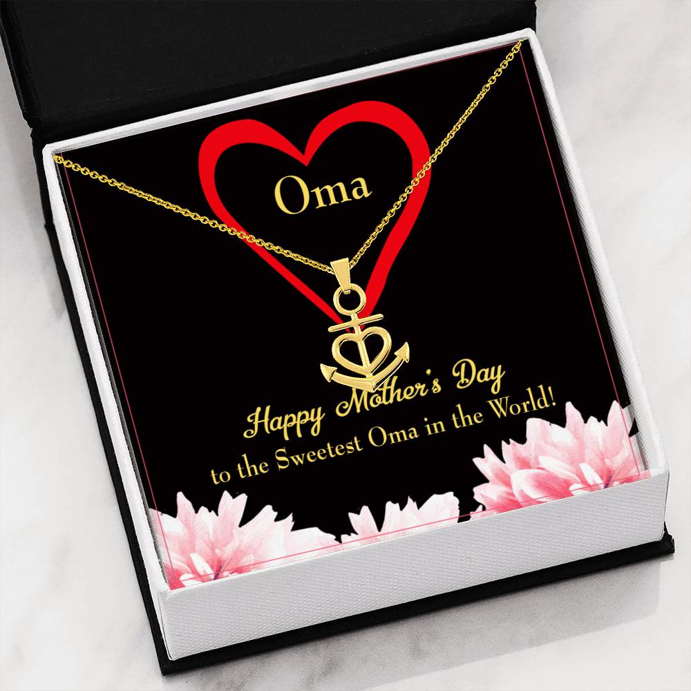 Grandmother Necklace Gift Oma Anchor Pendant Stainless Steel Mothers Day Birthday Jewelry Gift for Grandma