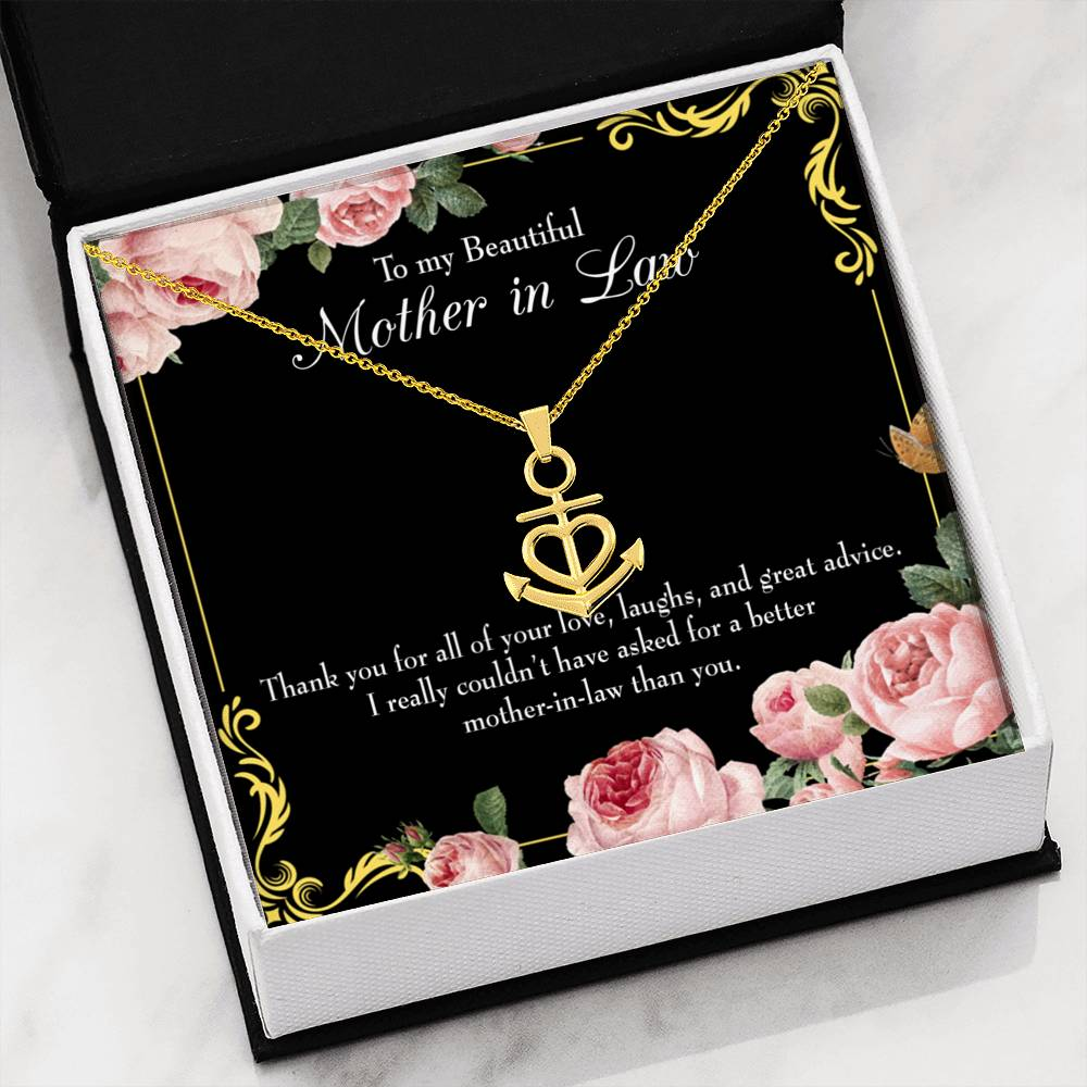 Mother-In-Law Necklace Anchor Pendant Stainless Steel Mother-in-Law Birthday Jewelry Mothers Day Gift No Other Better MotherinLaw