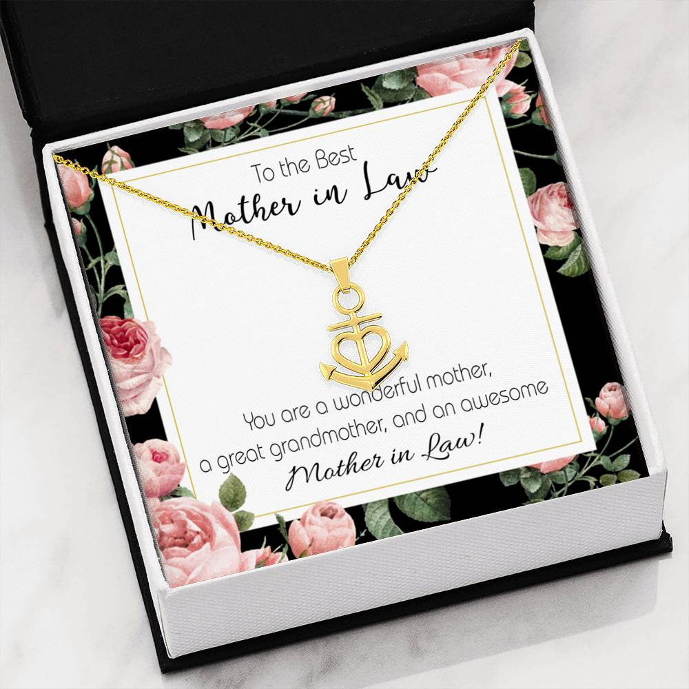 Mother-In-Law Necklace Anchor Pendant Stainless Steel Mother-in-Law Birthday Jewelry Mothers Day Gift Awesome MotherinLaw
