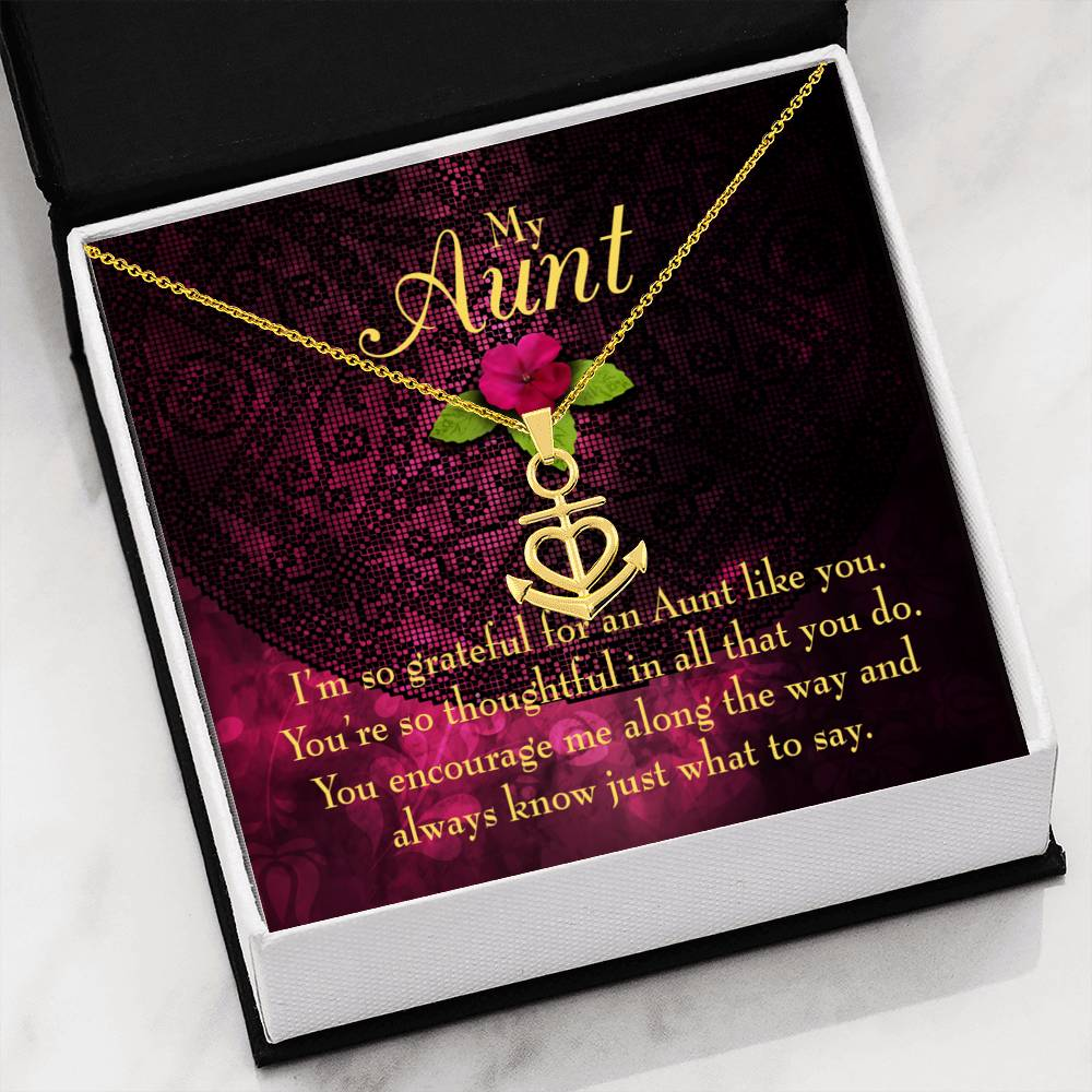So Grateful to Auntie Aunt Gift Aunt Jewelry Anchor Necklace Stainless Steel Best Aunt Ever pendant