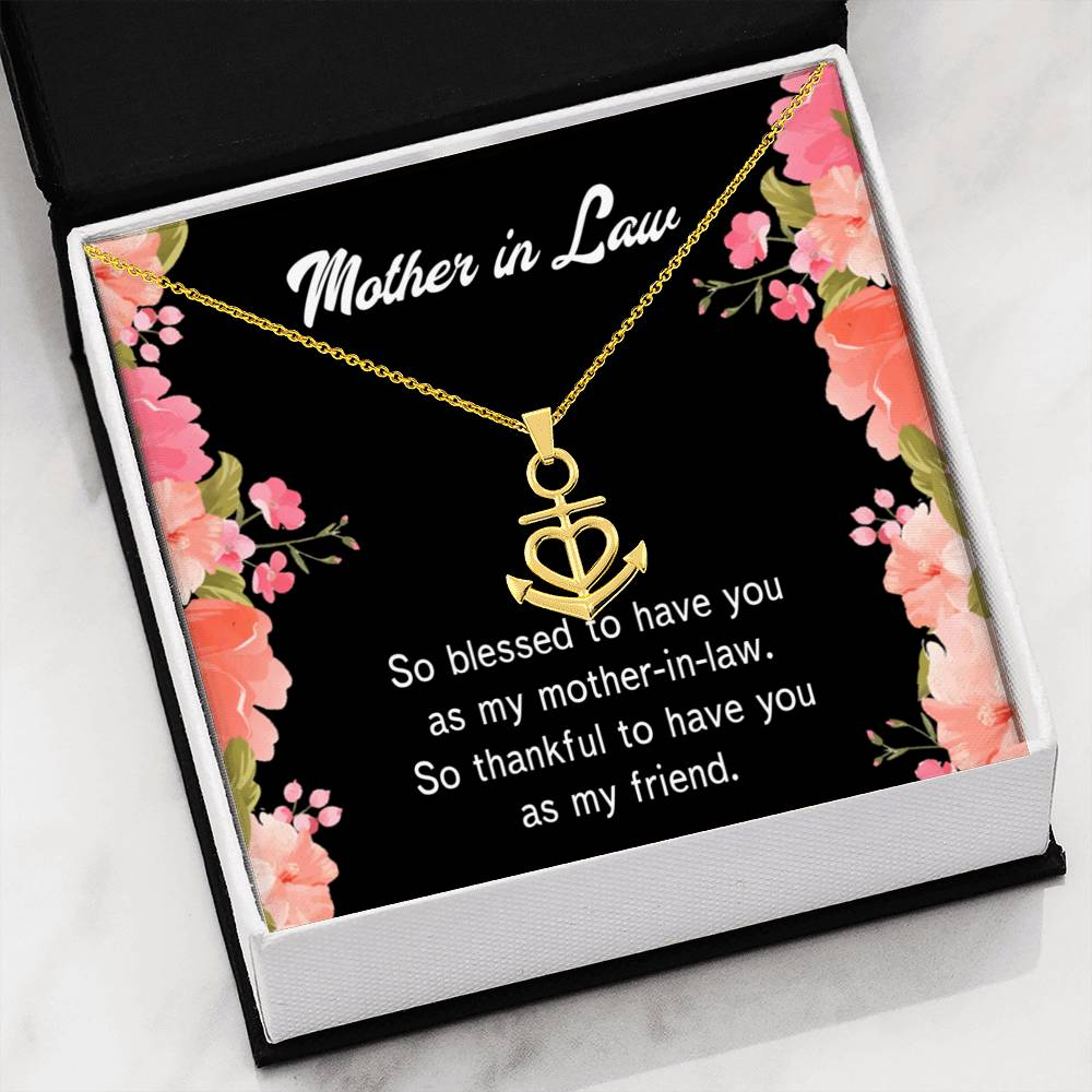 Mother-In-Law Necklace Anchor Pendant Stainless Steel Mother-in-Law Birthday Jewelry Mothers Day Gift So Blessed