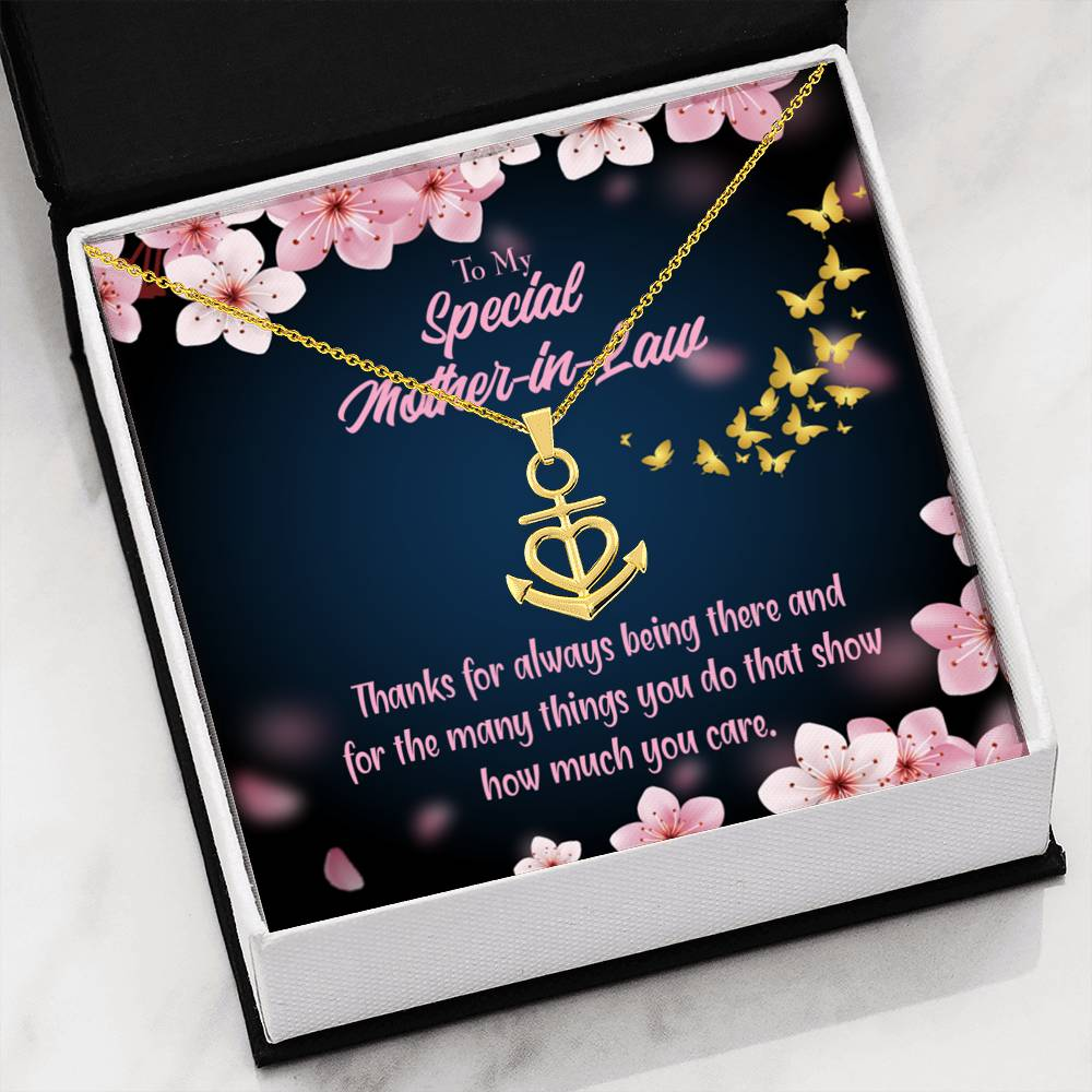 MotherInLaw Necklace Anchor Pendant Stainless Steel Mother-in-Law Birthday Jewelry Mothers Day Gift Thanks Always