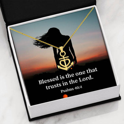 "How Blessed is The Man Religious Gift Psalm 40:4 Anchor Necklace Stainless Steel 16-22"" Cable Chain"