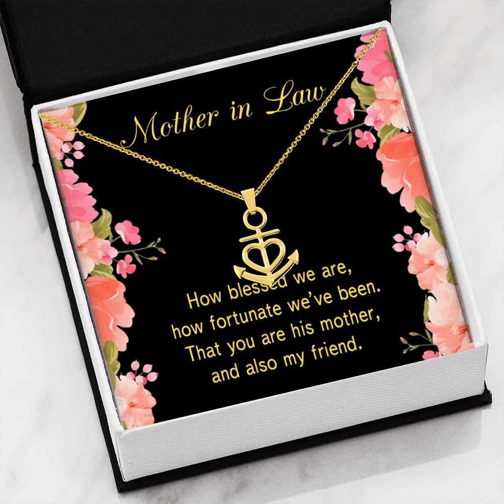 Mother-In-Law Necklace Anchor Pendant Stainless Steel Mother-in-Law Birthday Jewelry Mothers Day Gift How Fortunate