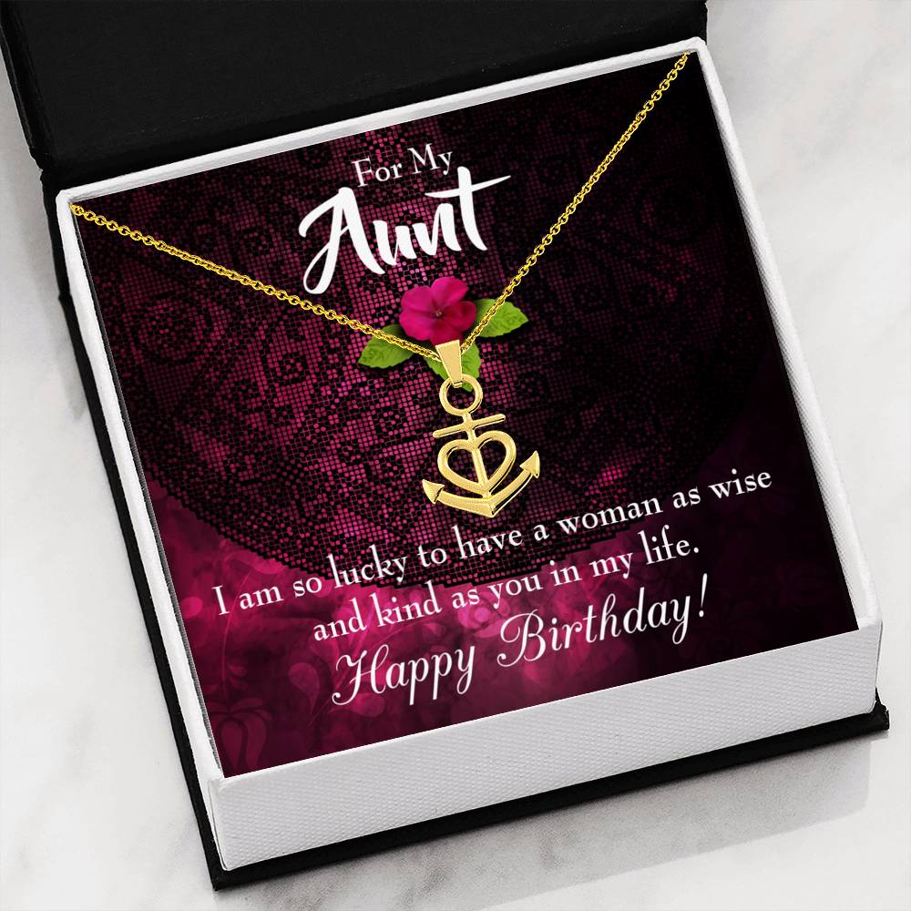 Happy Birthday Aunt Aunt Gift Aunt Jewelry Anchor Necklace Stainless Steel Best Aunt Ever pendant