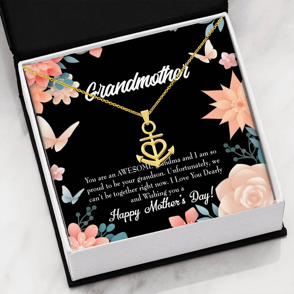 Grandmother Necklace Gift MOTHERS DAY GRANDSON Anchor Pendant Stainless Steel Mothers Day Birthday Jewelry Gift for Grandma