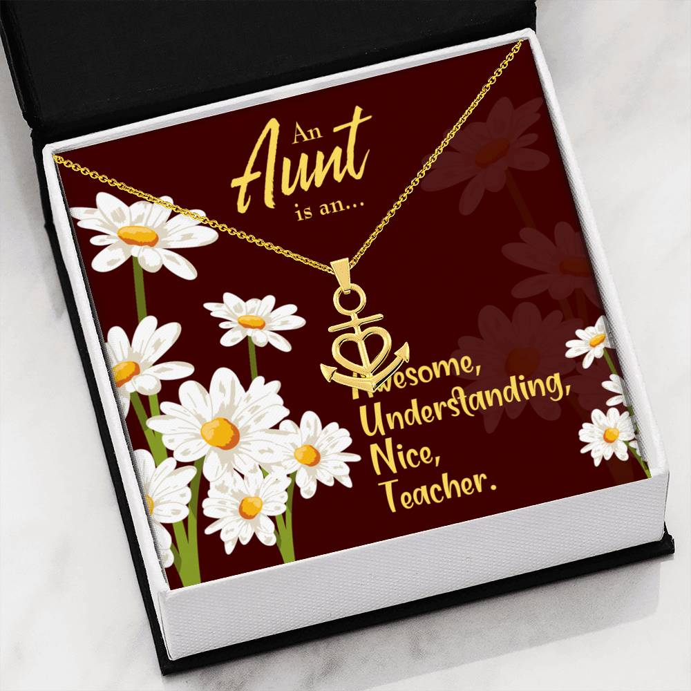 Aunt Defined Aunt Gift Aunt Jewelry Anchor Necklace Stainless Steel Best Aunt Ever Pendant