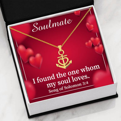 "Found The One Who My Soul Loves Religious Gift Song of Solomon 3:4 Anchor Necklace Stainless Steel 16-22"" Cable Chain"