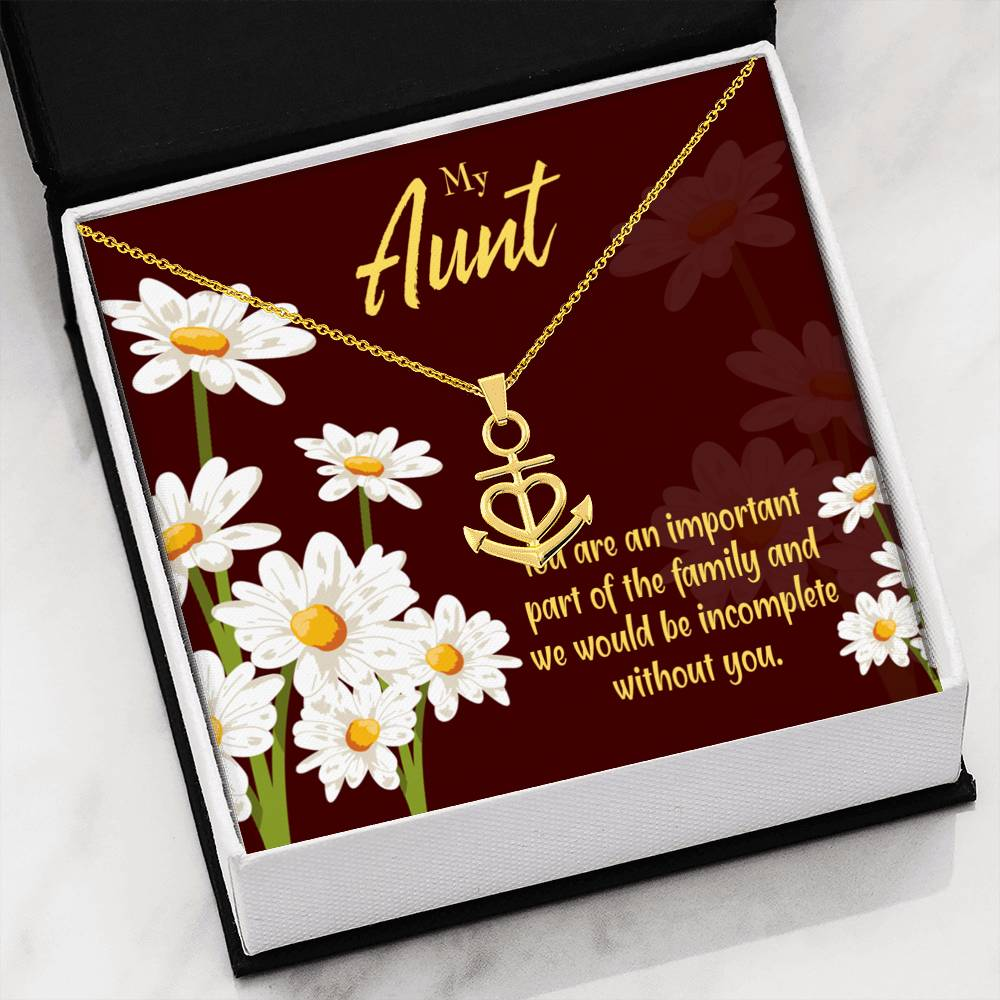 Aunt Gift Aunt Jewelry Anchor Necklace Stainless SteelBest Aunt Ever pendant Important Aunt Auntie