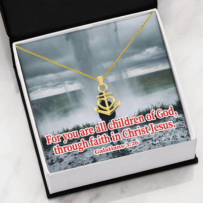 "Child Of God Religious Gift Galatians 3:26 Anchor Necklace Stainless Steel 16-22"" Cable Chain"