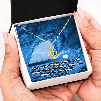 "Love Bears All Religious Gift 1 Corinthians 13:7-8 Anchor Necklace Stainless Steel 16-22"" Cable Chain"