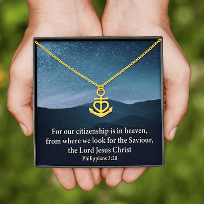 "Citizenship is in Heaven Religious Gift Anchor Necklace Stainless Steel 16-22"" Cable Chain"