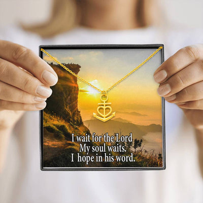 "I Wait For The Lord Religious Gift Psalm 130:5 Anchor Necklace Stainless Steel 16-22"" Cable Chain"