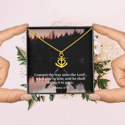 "Commit Thy Way Unto The Lord Religious Gift Psalm 37:5 Anchor Necklace Stainless Steel 16-22"" Cable Chain"