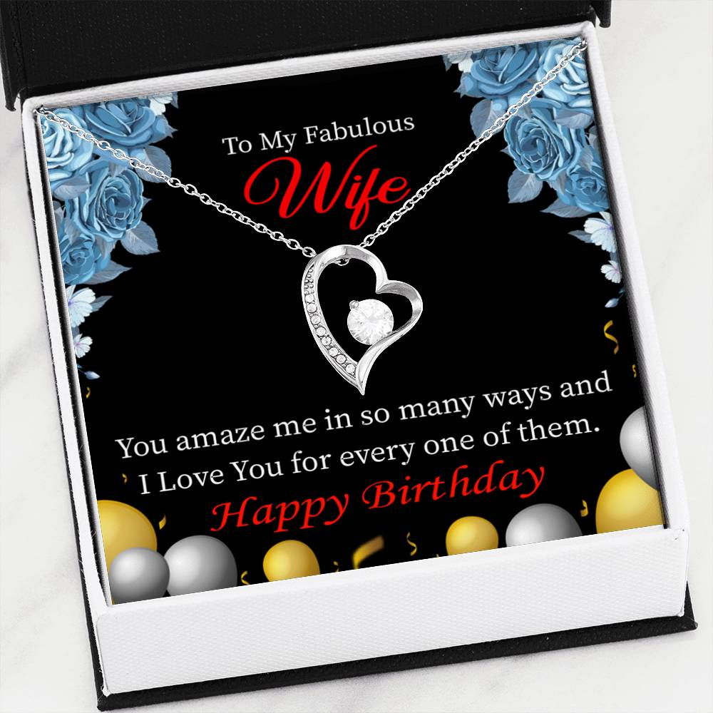 Simply Amazing Wife Wife Gift, Forever Love Necklace-CZ Heart Pendant Stainless Steel or 18k Gold Finish, Wife Birthday Gift
