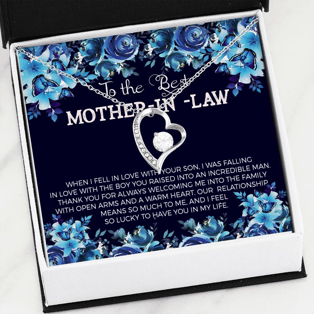 Mother in Law, Forever Love Necklace CZ Heart Pendant Stainless Steel, Keepsake Card