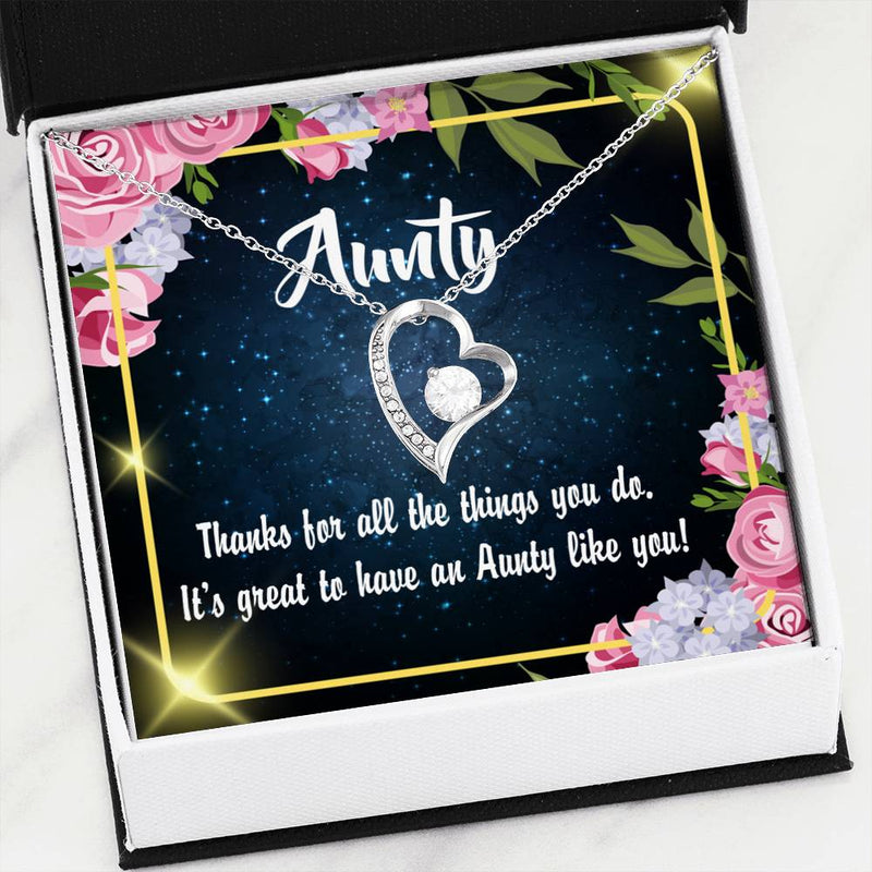 Aunt Gift, Aunt jewelry, Forever Necklace Stainless Steel, gifts for Aunt,Auntie Like You