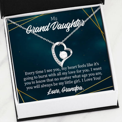 Gift for Granddaughter, My Little Girl Forever Love Necklace-CZ Heart Pendant Stainless Steel or 18k Gold