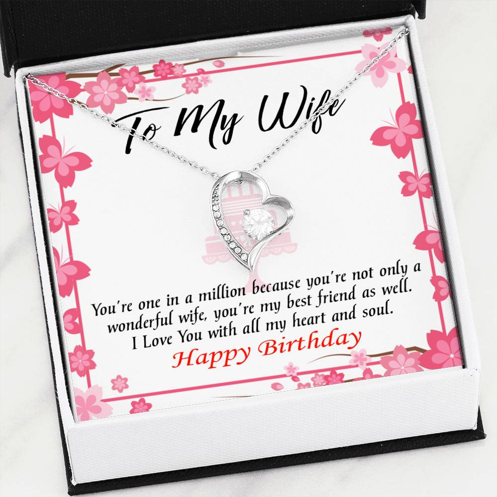Wonderful Best Friend Wife Wife Gift, Forever Love Necklace-CZ Heart Pendant Stainless Steel or 18k Gold Finish, Wife Birthday Gift
