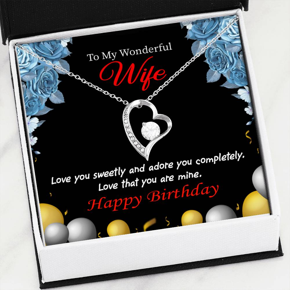 Love You Sweetly Wife Gift, Forever Love Necklace-CZ Heart Pendant Stainless Steel or 18k Gold Finish, Wife Birthday Gift