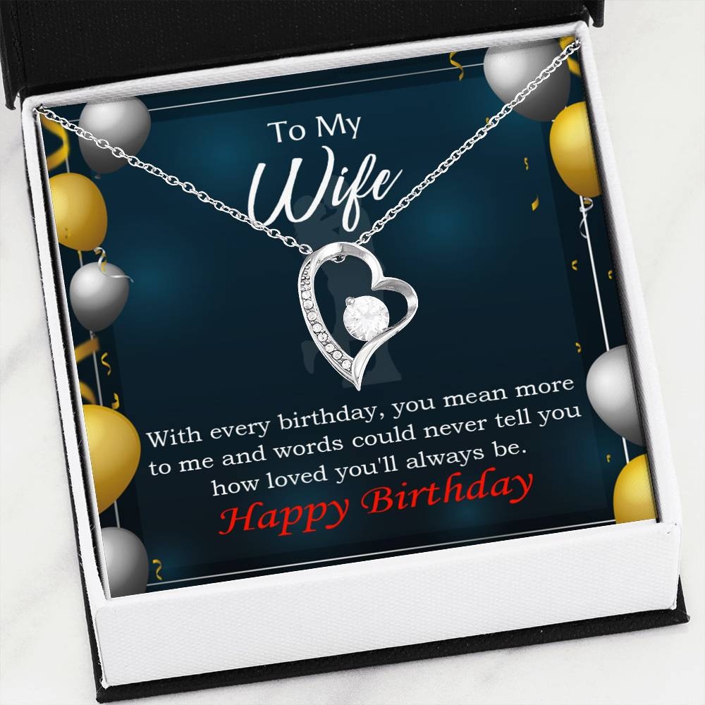 Every Birthday Wife Gift, Forever Love Necklace-CZ Heart Pendant Stainless Steel or 18k Gold Finish, Wife Birthday Gift