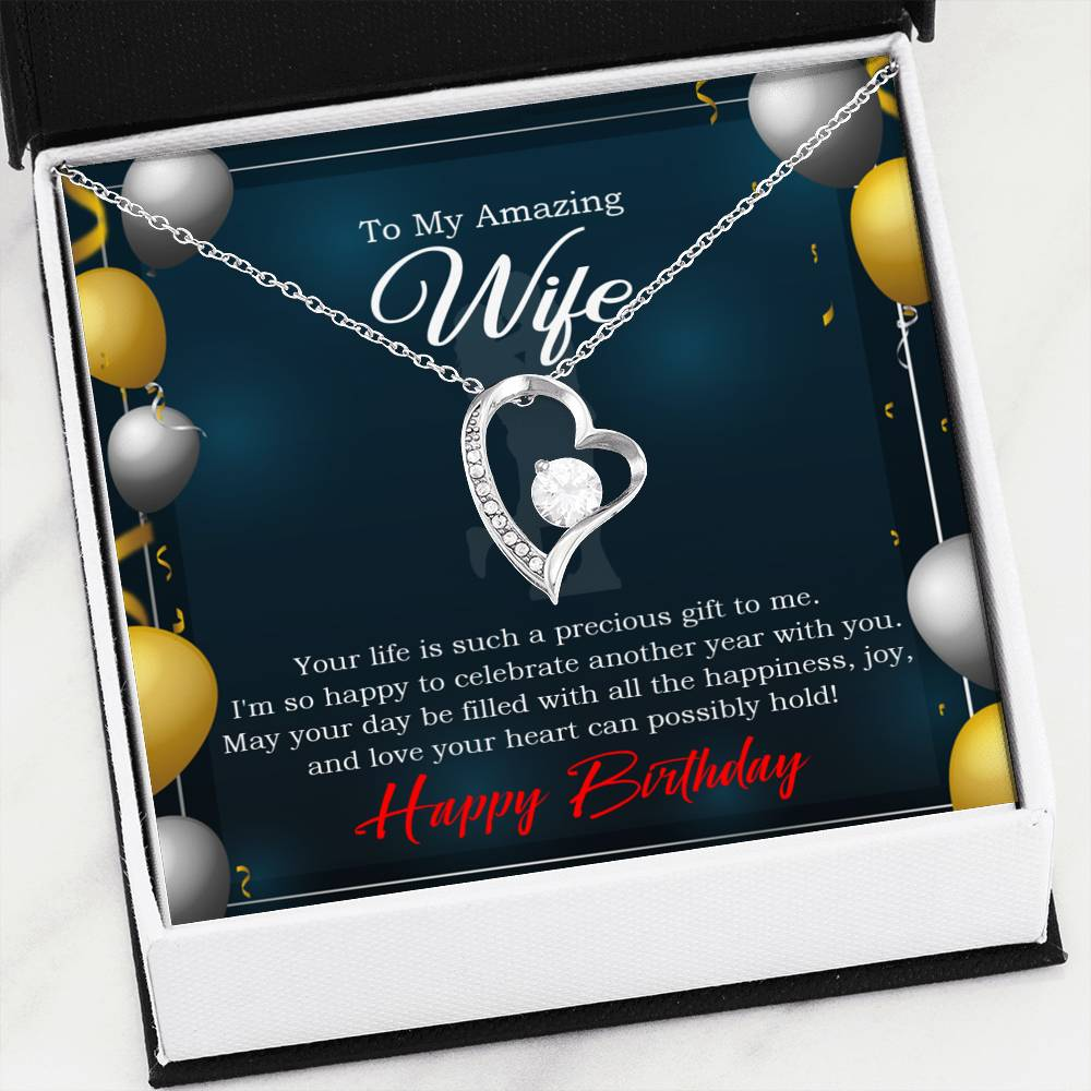 Wife is a Precious Gift Wife Gift, Forever Love Necklace-CZ Heart Pendant Stainless Steel or 18k Gold Finish, Wife Birthday Gift
