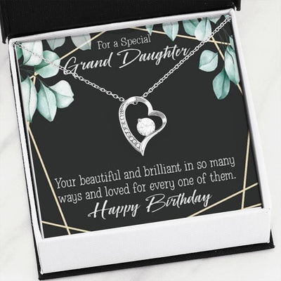 Gift for Granddaughter, Happy Birthday Granddaughter Forever Love Necklace-CZ Heart Pendant Stainless Steel or 18k Gold