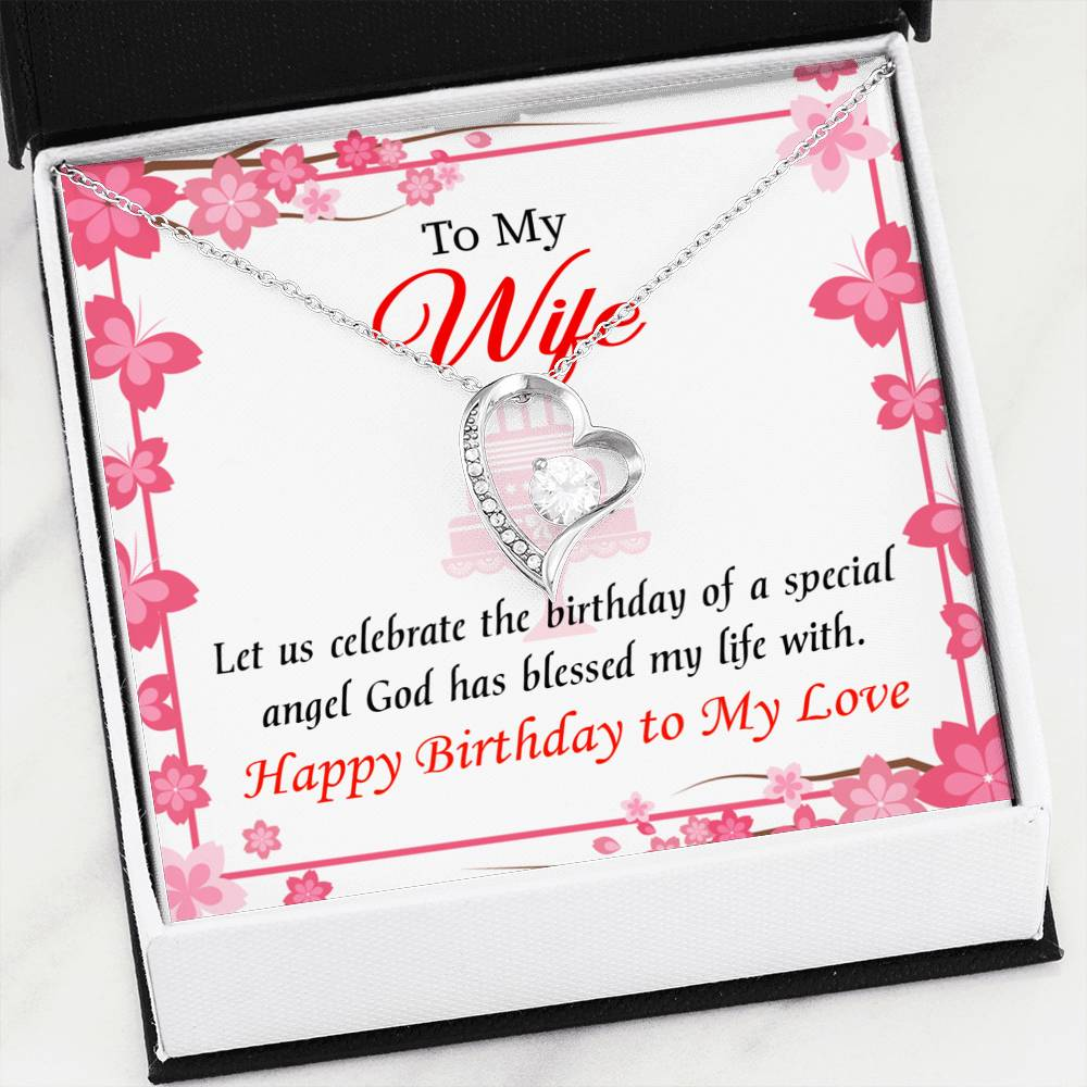Love and Affection Wife Gift, Forever Love Necklace-CZ Heart Pendant Stainless Steel or 18k Gold Finish, Wife Birthday Gift