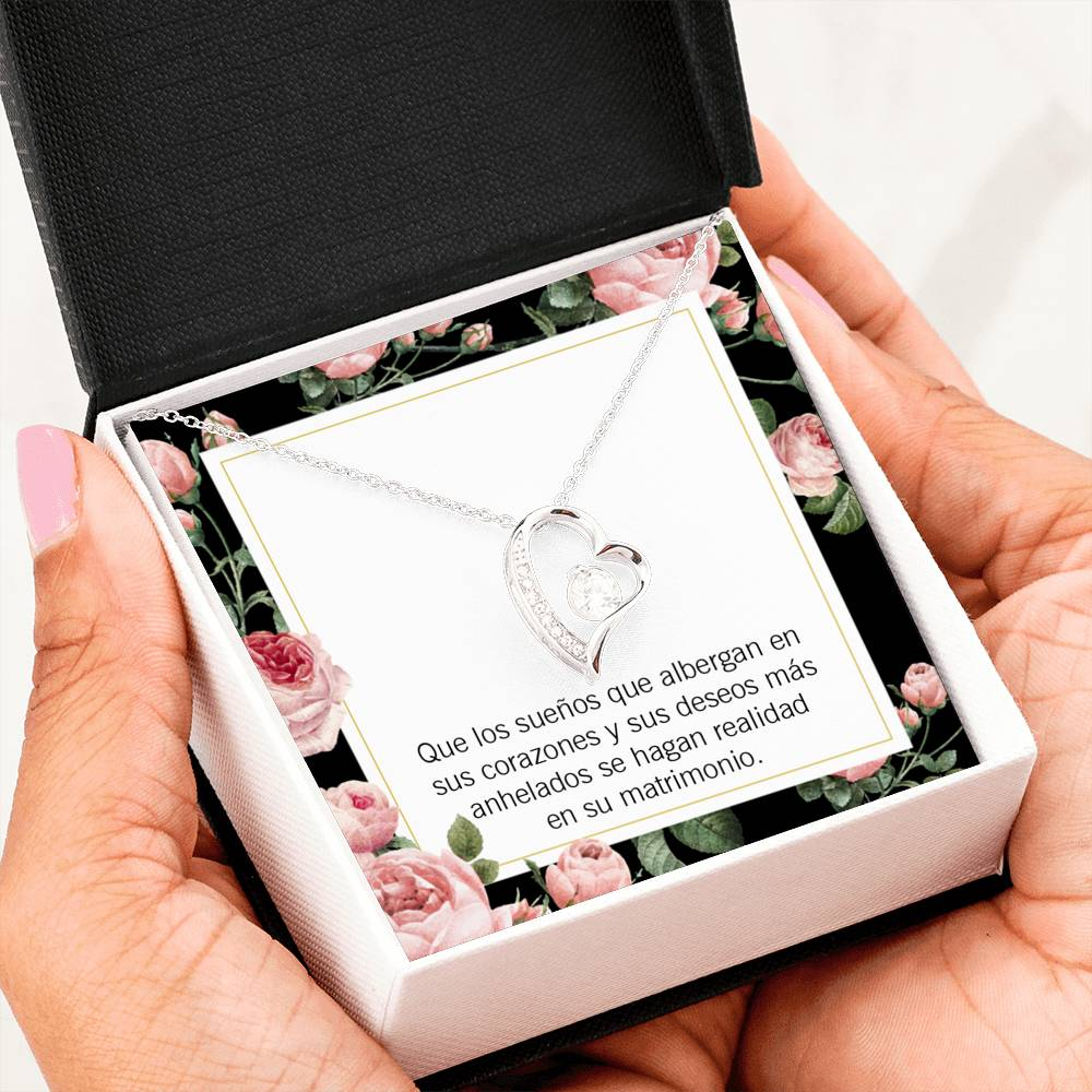 Gift for Fiancee Wedding Day Spanish ,Forever Love Necklace-CZ Heart Pendant Stainless Steel or 18k Gold Finish