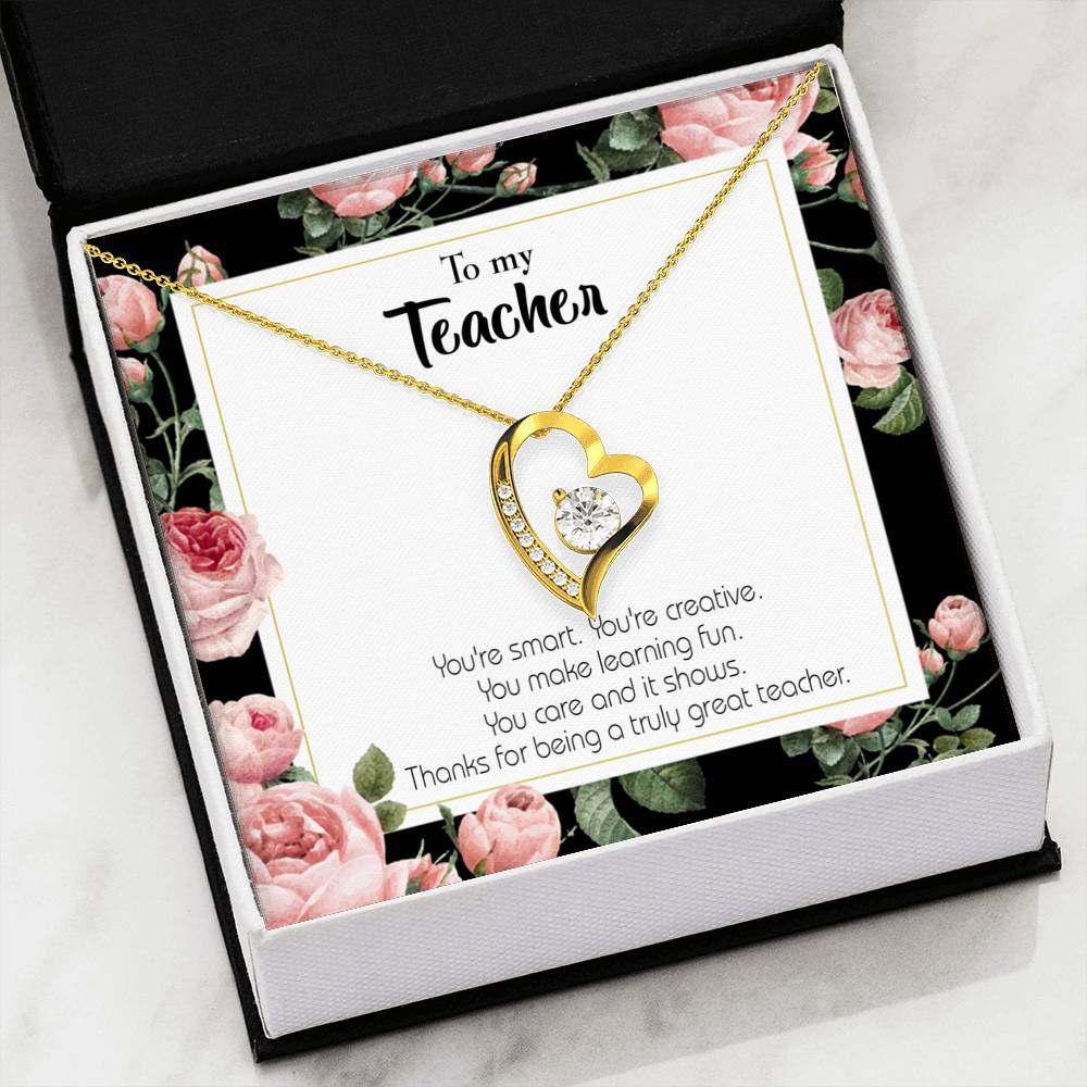 Teacher Thanks Gift Forever Love Necklace-CZ Heart Pendant Stainless Steel or 18k Gold