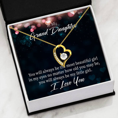 Gift for Granddaughter, You Will Always Be Forever Love Necklace-CZ Heart Pendant Stainless Steel or 18k Gold