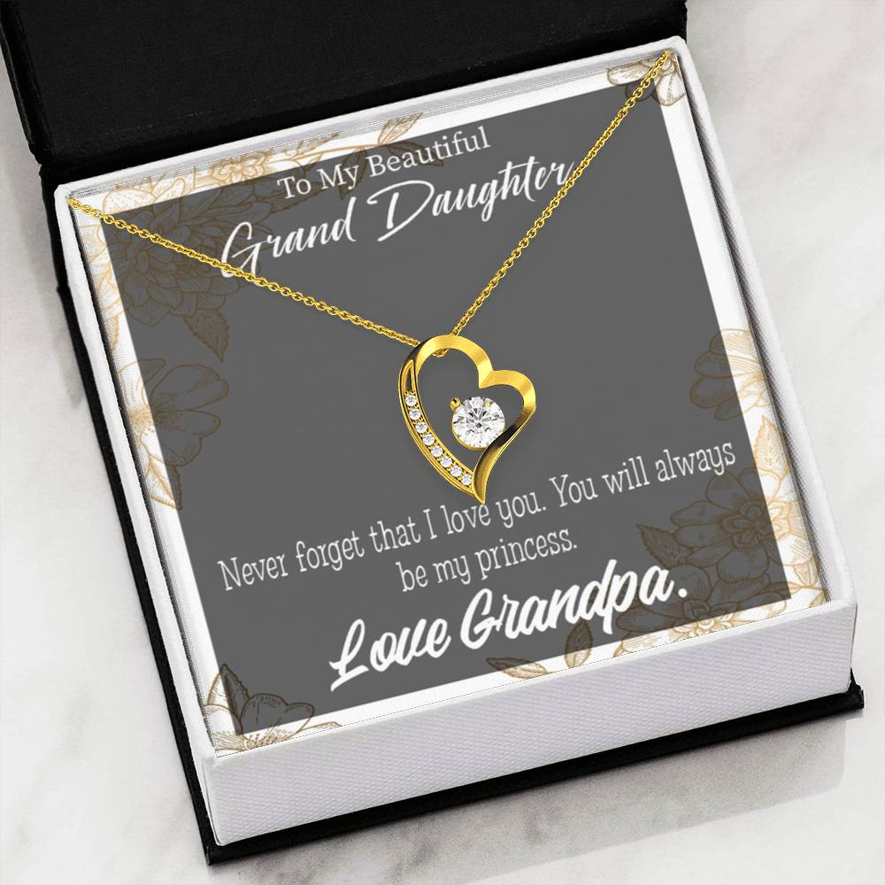 Gift for Granddaughter Grandpa's Princess Forever Love Necklace-CZ Heart Pendant Stainless Steel or 18k Gold