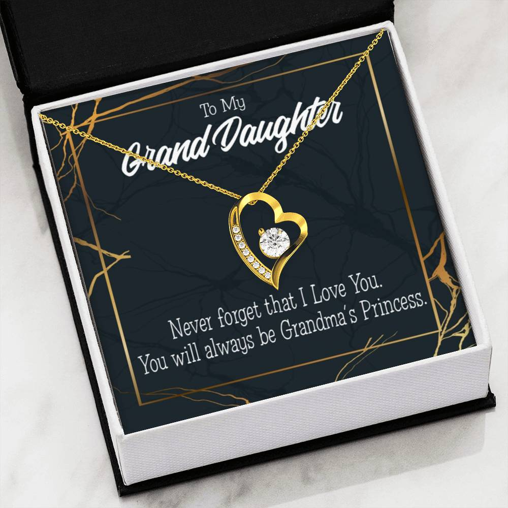 Gift for Granddaughter Grandma's Princess Forever Love Necklace-CZ Heart Pendant Stainless Steel or 18k Gold