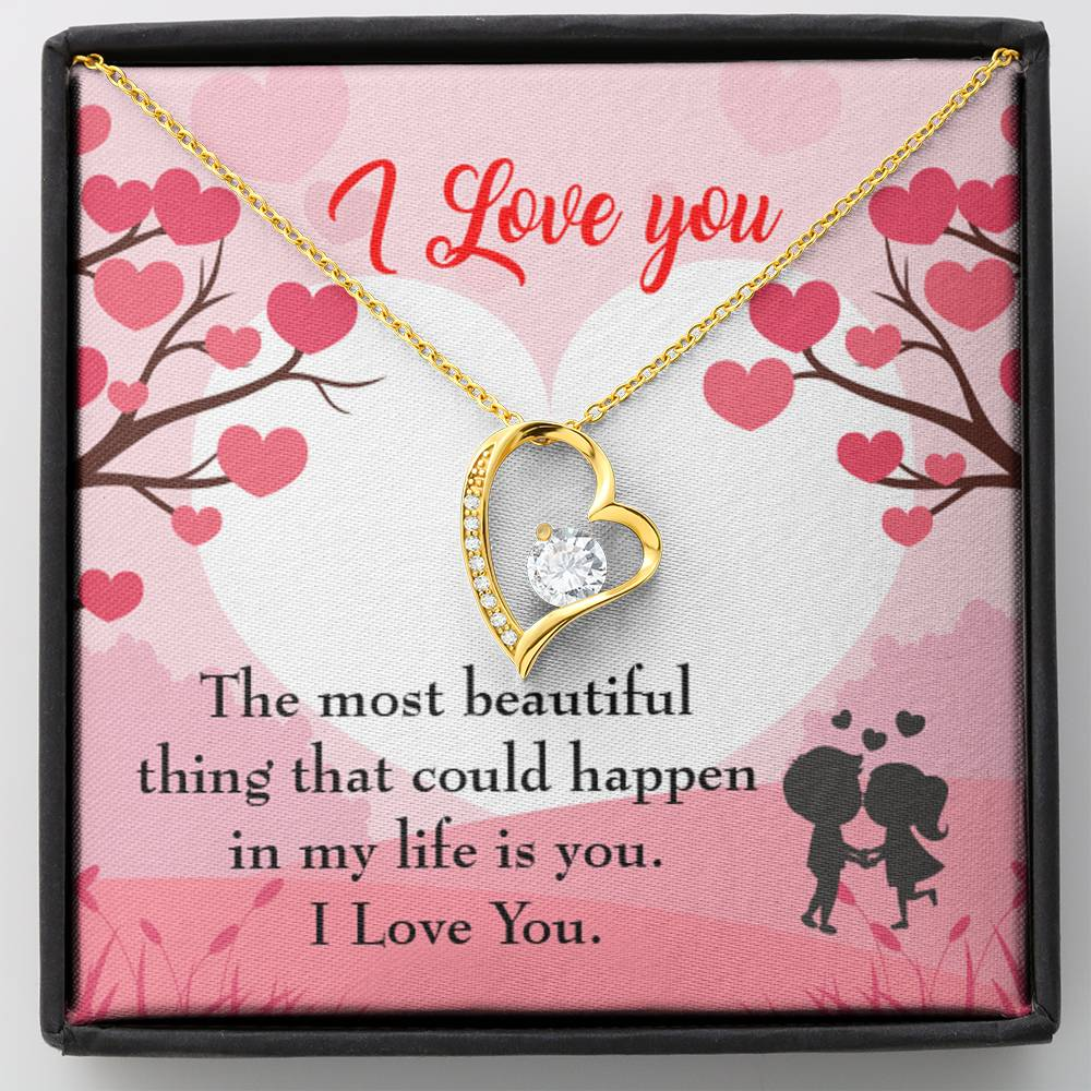 "I Love You CZ Love Heart Pendant 18k Gold or Stainless Steel 18"" Necklace - Express Your Love Gifts"