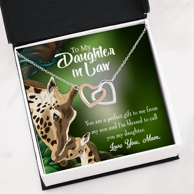 Daughter-in-Law Keepsake Card, Perfect Gift From Mother-in-Law, Inseparable Necklace Pendant, 18k Rose Gold Finish 16""